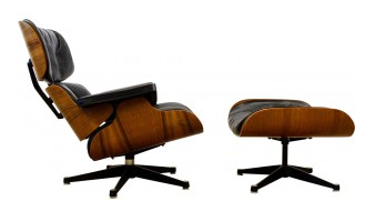 Fauteuil-Lounge-Vitra-noir-en-cuir-Charles-Ray-Eames