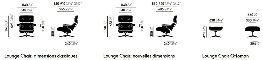 Lounge chair eames dimensions