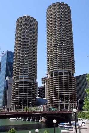 Vue des 2 tours, Marina City, Chicago, Etats-Unis.